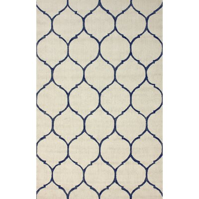Tina Hand-Hooked Cotton Ivory Area Rug Rug Size: Rectangle 76 x 96