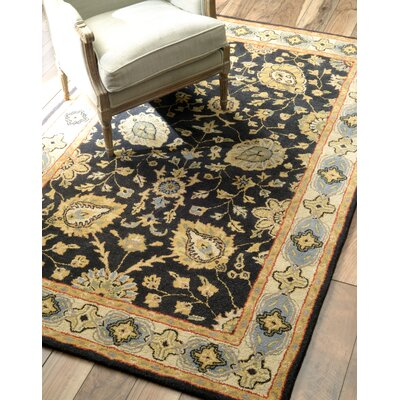 Caroline Hand-Woven Wool Black Area Rug Rug Size: Rectangle 8 x 10