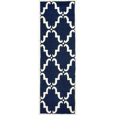 Divina Hand Tufted Navy Area Rug Rug Size: Runner 26 x 8