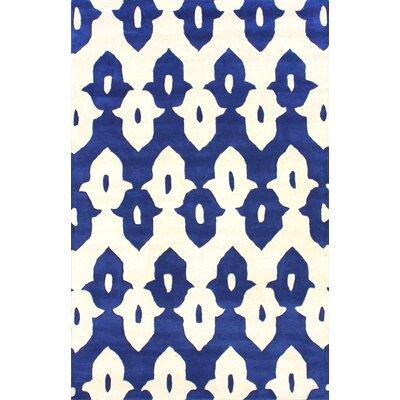 Moderna Regal Blue Ikat Trellis Area Rug Rug Size: Rectangle 9 x 12