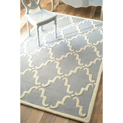 Moderna Trellis Hand-Tufted Light Blue Area Rug Rug Size: 76 x 96