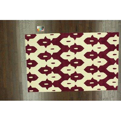 Palazzo Hand Tufted Wine Area Rug Rug Size: 5 x 8