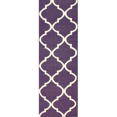 Marbella Hand-Woven Wool Purple Area Rug Rug Size: Runner 26 x 8