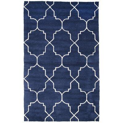 Lalande Hand-Tufted Wool Navy Area Rug Rug Size: Rectangle 76 x 96