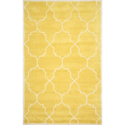 Lalande Hand-Tufted Wool Yellow Area Rug Rug Size: Rectangle 76 x 96