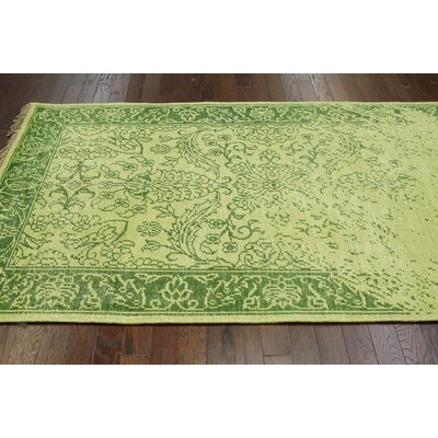 Bristol Hand Knotted Green Area Rug Rug Size: 76 x 96