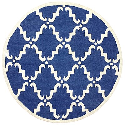 Divina Hand Tufted Blue Area Rug Rug Size: Round 6'