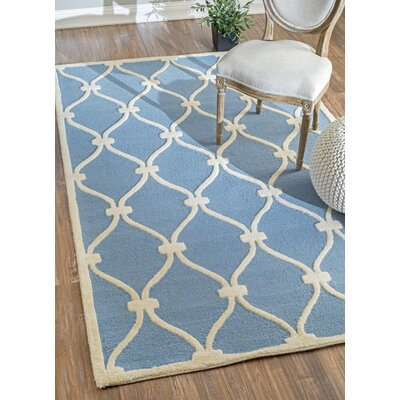 Trellis Shanel Hand-Woven Wool Blue Area Rug Rug Size: Rectangle 76 x 96