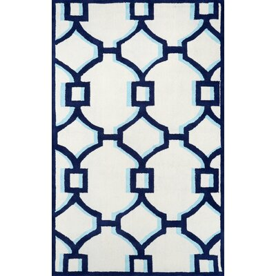 Geometric Rosa Hand Hooked Cotton Blue Area Rug Rug Size: 5 x 8