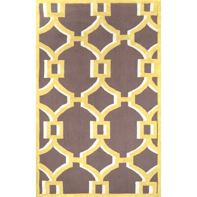 Geometric Rosa Hand Hooked Cotton Gold Area Rug Rug Size: 5 x 8