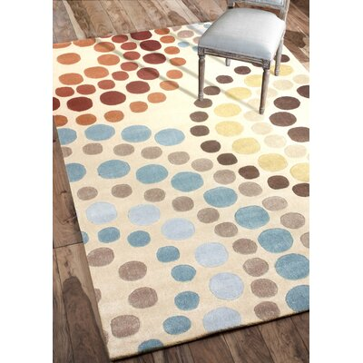 Cine Felice Hand-Tufted Beige/Blue Area Rug Rug Size: Rectangle 76 x 96