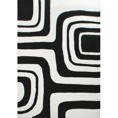 Cine Hand-Tufted Gray/Black Area Rug Rug Size: Rectangle 76 x 96