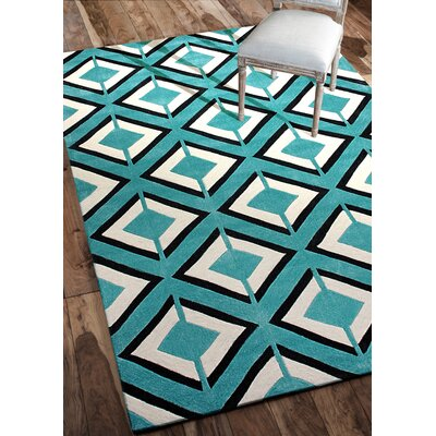 Cine Hand-Tufted Teal Darlene/Ivory Area Rug Rug Size: Rectangle 76 x 96