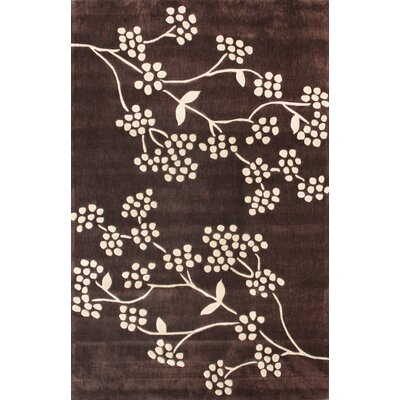 Cine Floral Hand-Tufted Brown Area Rug Rug Size: 6 x 9