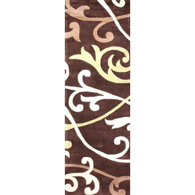 Cine Hand-Tufted Brown/White Area Rug Rug Size: Runner 26 x 8