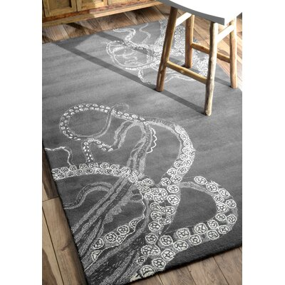 Kyoto Midnight Octo Hand-Tufted Gray Area Rug Rug Size: 86 x 116