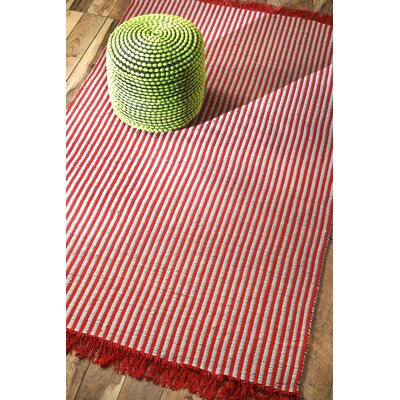 Chindi Hand-Flat Woven Red/Bone Area Rug Rug Size: Rectangle 76 x 96