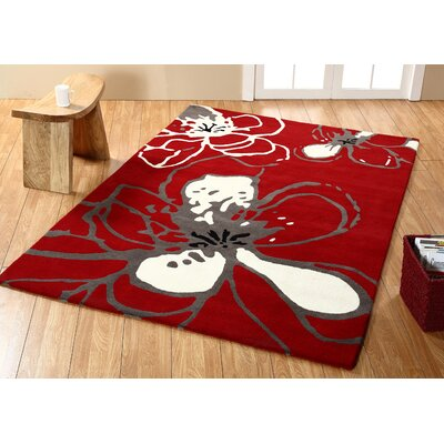 Modella Hand-Woven Wool Red Area Rug Rug Size: Rectangle 5 x 8