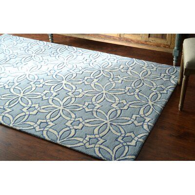 Filigree Hand-Tufted Wool Blue Area Rug Rug Size: Rectangle 86 x 116
