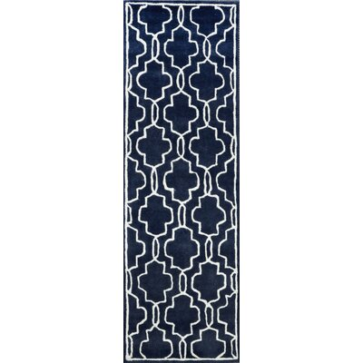 Venice Hand-Tufted Wool Dark Blue Area Rug Rug Size: Runner 26 x 8