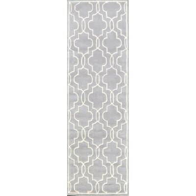 Venice Hand-Tufted Wool Gray Area Rug Rug Size: Runner 26 x 8