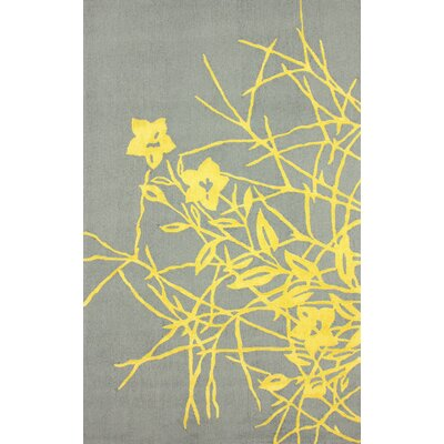 Brilliance Ryan Hand-Hooked Gold/Gray Area Rug Rug Size: 36 x 56