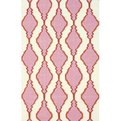 Moderna Hand-Woven Wool Pink Area Rug Rug Size: Rectangle 76 x 96