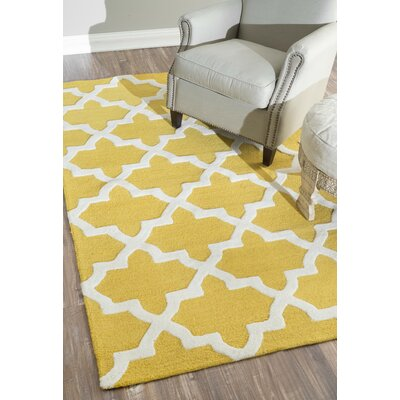 Maillart Hand-Hooked Wool Gold Area Rug Rug Size: Rectangle 5 x 8