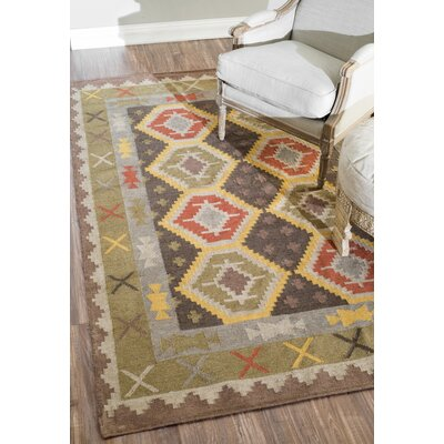 Nordhagen Green/Yellow Area Rug Rug Size: Rectangle 76 x 96