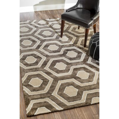 Shumpert Hand-Hooked Brown Area Rug Rug Size: Rectangle 76 x 96
