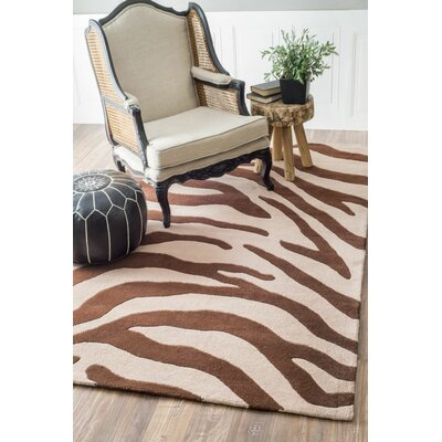 Earth Hand-Tufted Wool Brown/Beige Area Rug Rug Size: Rectangle 5 x 8