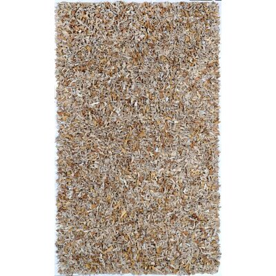 Leather Shag Hand-Woven Beige Area Rug Rug Size: 26 x 42