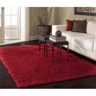 Shag Really Red Area Rug Rug Size: Rectangle 53 x 8