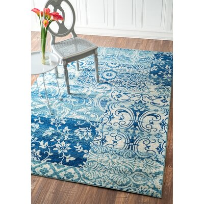 Edythe Aqua Area Rug Rug Size: Rectangle 710 x 112