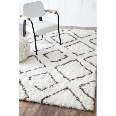Bridgette Ivory & Brown Shag Area Rug Rug Size: Rectangle 8 x 10