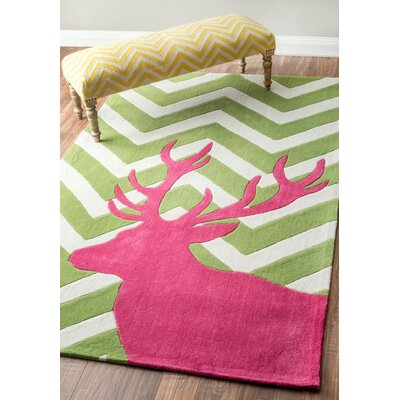 Cine Reindeer on Chevron Green Area Rug Rug Size: Rectangle 5 x 8
