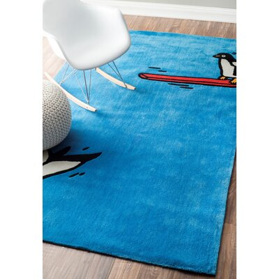 Cine Diving Penguin Blue Area Rug Rug Size: Rectangle 36 x 56