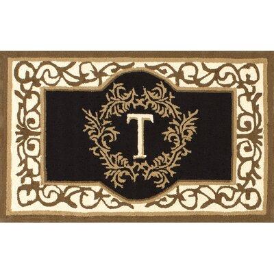 Hubert Letter Doormat Letter: T, Rug Size: 3 x 6