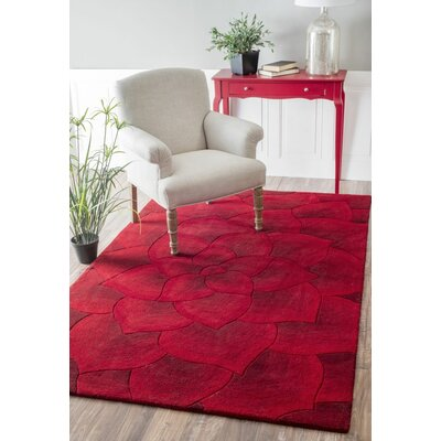 Moderna Hand-Tufted Red Area Rug Rug Size: 5 x 8