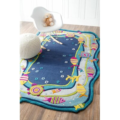 Kinder Under the Ocean Blue Area Rug Rug Size: 36 x 56