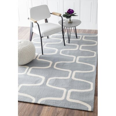 Trellis Hand-Hooked Wool Light Blue Area Rug Rug Size: Rectangle 76 x 96