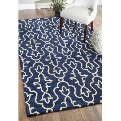 Amalfi Hand-Tufted Wool Navy Area Rug Rug Size: Rectangle 76 x 96