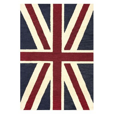 Marbella Union Jack Denim Novelty Area Rug Rug Size: 5 x 76