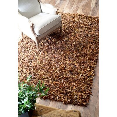 Leather Shag Dark Brown Area Rug Rug Size: 36 x 56