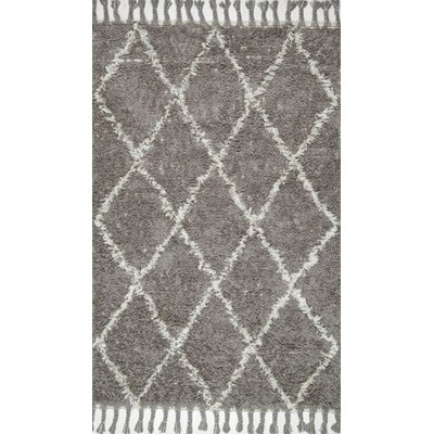 Gizon Hand-Knotted Gray Area Rug Rug Size: 4 x 6