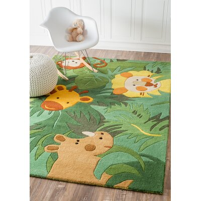 Kinder Safari Friends Green Area Rug Rug Size: 6 x 9