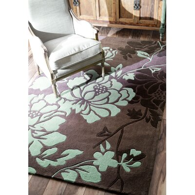 Cine Hand-Tufted Chocolate/Sky Blue Area Rug Rug Size: 10 x 14