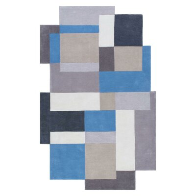 Shaped Hand-Tufted Blue Area Rug Rug Size: 5' x 8'