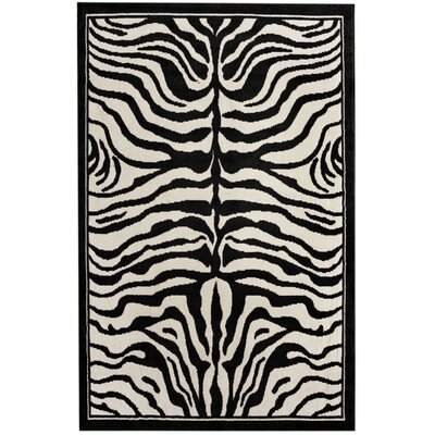 Zebra Print Black/White Area Rug Rug Size: Rectangle 310 x 57
