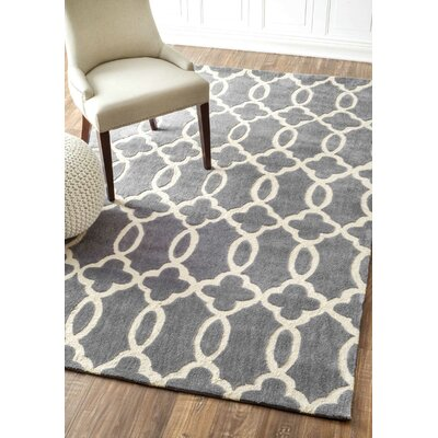 Lombard Hand-Woven Gray/Ivory Area Rug Rug Size: Rectangle 76 x 96